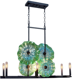 Waterfront Art Glass Island Light Antique Bronze
