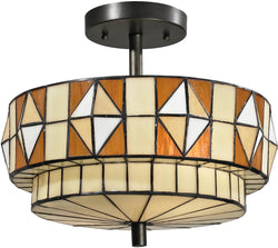 Dale Tiffany Wescott 2-Light Semi Flush Fixture Dark Bronze TH12397