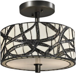 "12""w Willow Cottage 2-Light Semi Flush Fixture Dark Bronze"