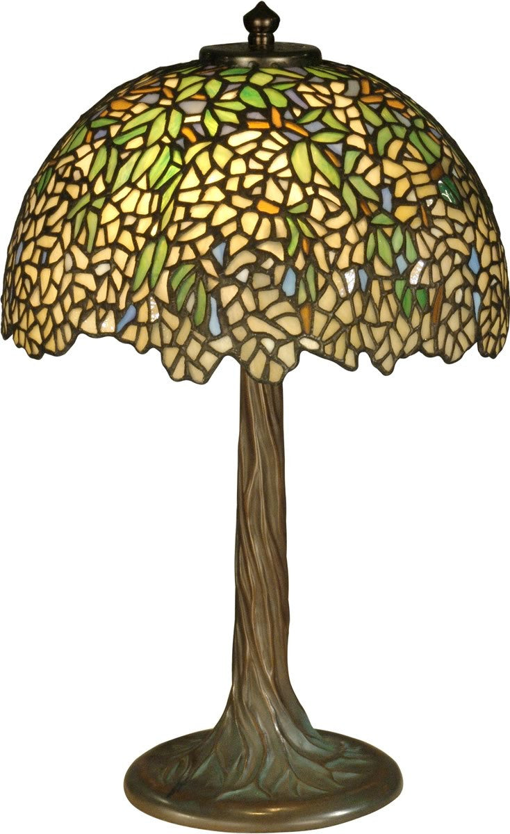"17""h 2-Light Tiffany Table Lamp Antique Bronze"