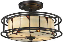 Dale Tiffany Woodbury 3-Light Semi Flush Fixture Dark Bronze TH12456