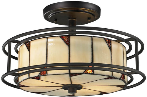 "15""w Woodbury 3-Light Semi Flush Fixture Dark Bronze"