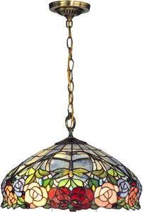 "16""w Zenia Rose 1-Light Pendant Antique Brass"