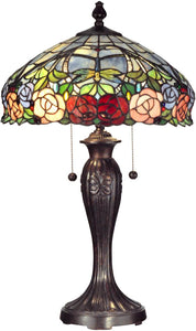 Dale Tiffany Zenia Rose 2-Light Table Lamp Fieldstone TT12232