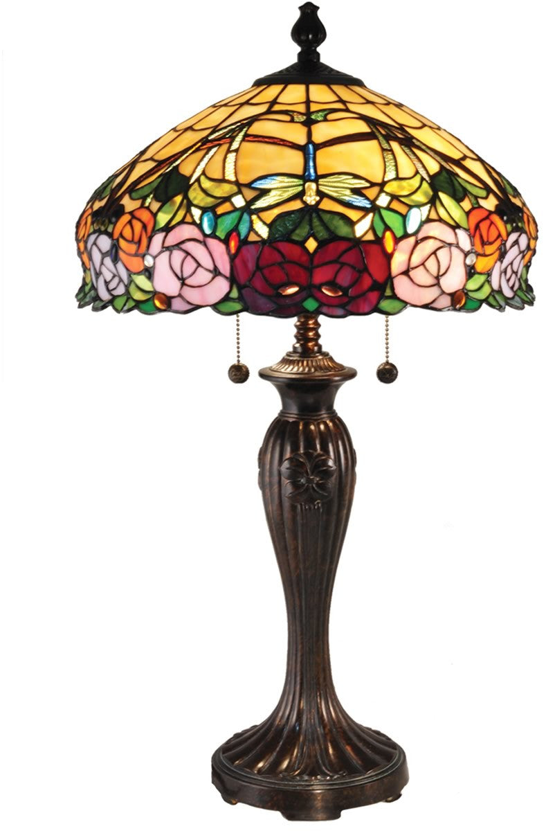 "27""H Zenia Rose Tiffany Table Lamp Antique Bronze"