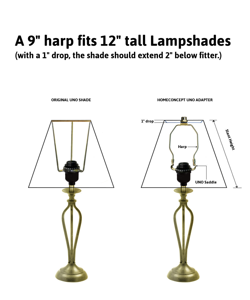 "9""H SLIP UNO Adapter Converts your Lampshade to fit on SLIP UNO Lamp Base"