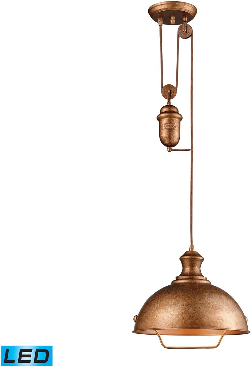 "14""W Farmhouse 1-Light Adjustable LED Pendant Bellwether Copper"