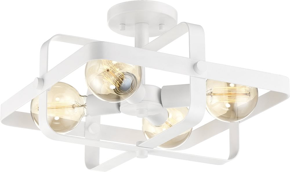 "16""W Prana 4-Light Close-to-Ceiling White"