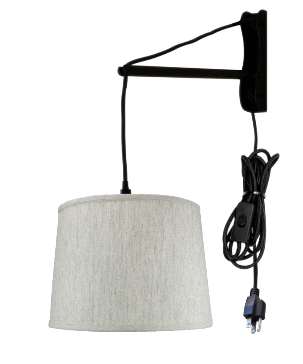 MAST Plug-In Wall Mount Pendant, 1 Light Black Cord/Arm, Textured Oatmeal Shade 12x14x10