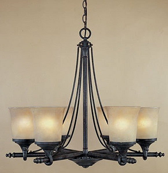 "27""w Austin 6-Light Chandelier Weathered Saddle"