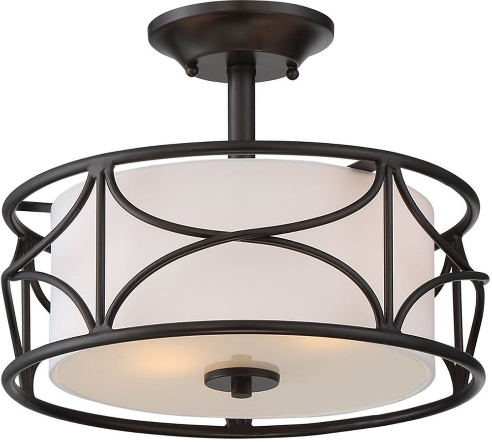 "13""W Avara 2-Light Semi Flush Mount Oil Rubbed Bronze"