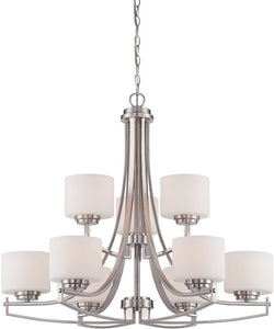 Designers Fountain Axel 9-Light Chandelier Satin Platinum 86289-SP