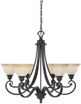 "31""W Barcelona 6-Light Chandelier Natural Iron"