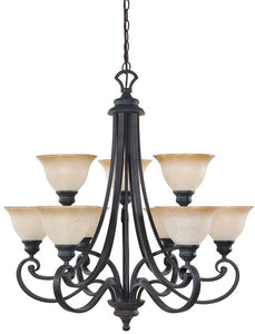 "31""w Barcelona 9-Light Chandelier Natural Iron"