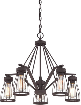 "25""W Brooklyn 5-Light Chandelier Bronze"