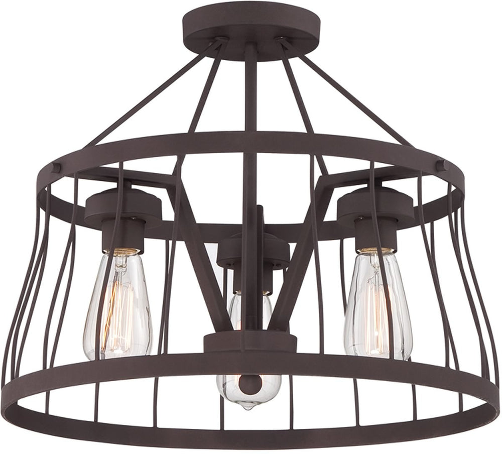 "18""W Brooklyn 3-Light Semi Flush Mount Bronze"