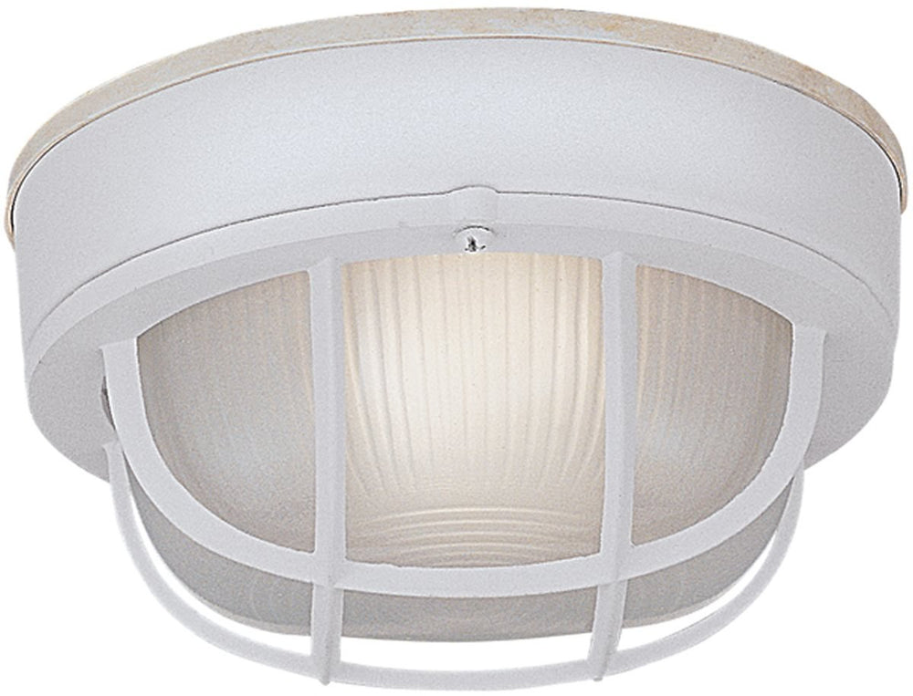 "7""W Bulkhead 1-Light Outdoor Flush Mount White"