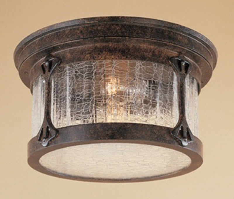 "12""w Canyon Lake 2-Light Flush Mount Chestnut"