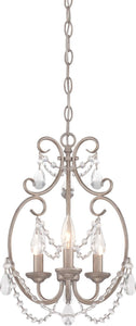 Designers Fountain 11 inchw Dahlia 3-Light Mini Chandelier Aged Platinum 6205AP
