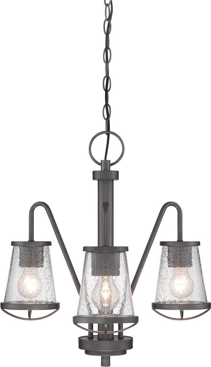 18 W Darby 3 Light Chandelier Weathered Iron