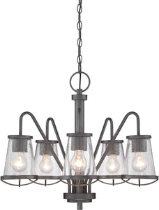 "22""w Darby 5-Light Chandelier Weathered Iron"