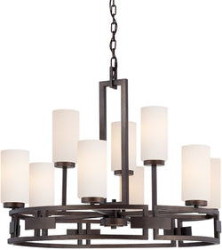 "33""W Del Ray 9-Light Chandelier Flemish Bronze"