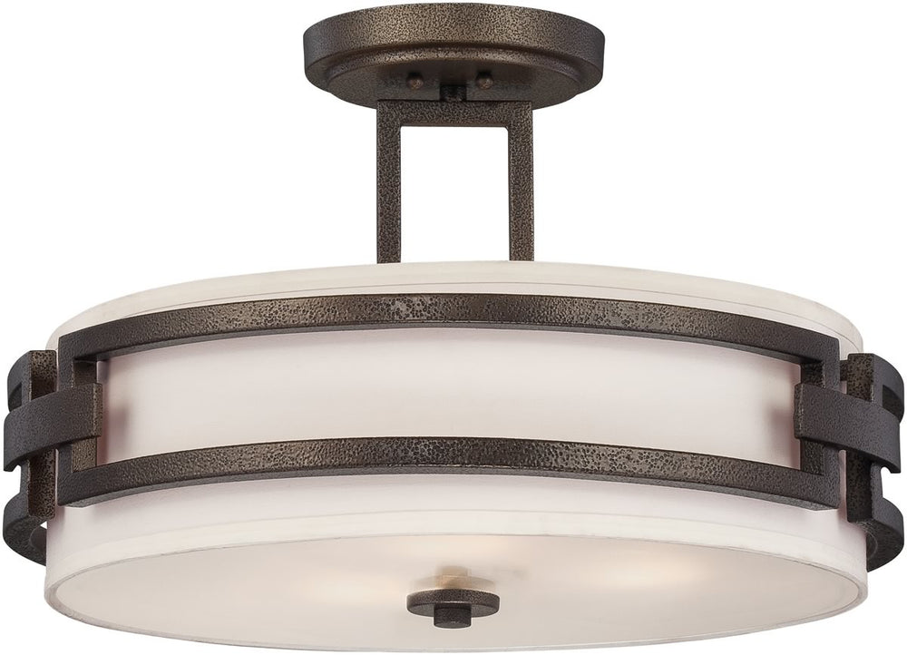 "18""w Del Ray 3-Light Semi-Flush Flemish Bronze"