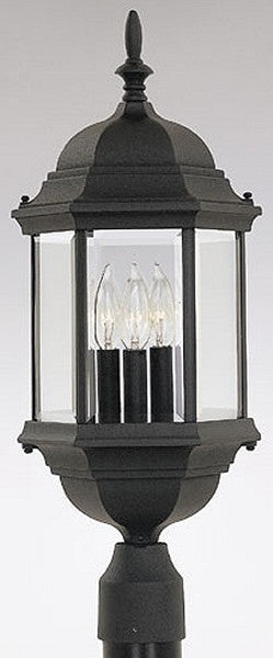 "24""h Devonshire Outdoor Post Lantern Black"