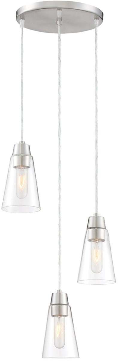 "11""W Echo 3-Light Mini Pendant Satin Platinum"