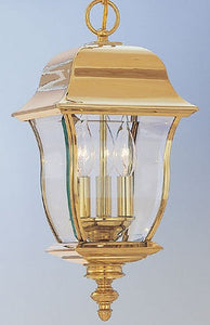 "10""w Gladiator Outdoor PVD Hanging Lantern Polished Brass"