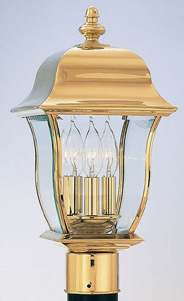 Designers Fountain Gladiator Outdoor PVD Post Lantern Polished Brass 1556PVDPB