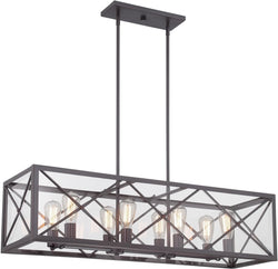 "39""w High Line 8-Light Island Pendant Satin Bronze"