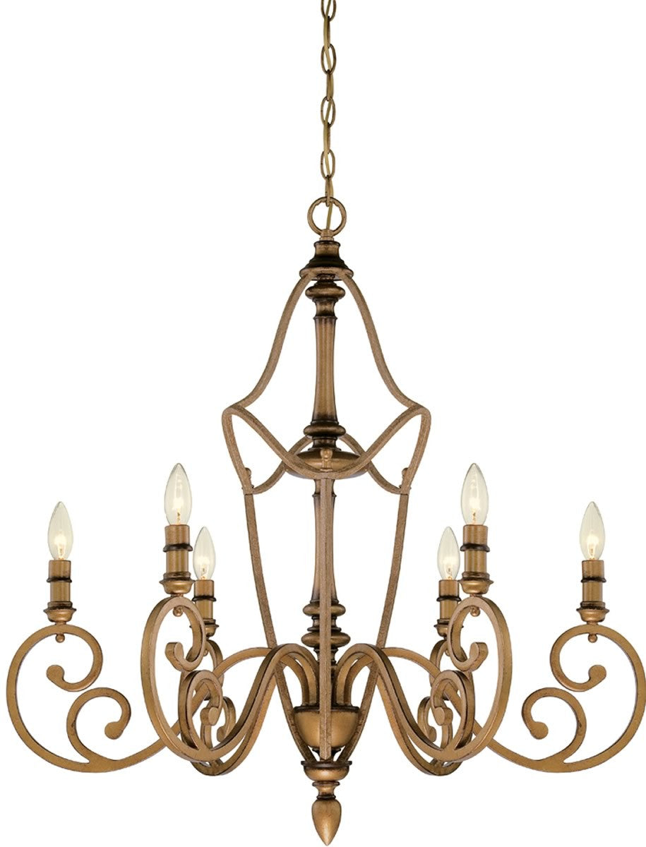 "31""W Isla 6-Light Chandelier Aged Brass"