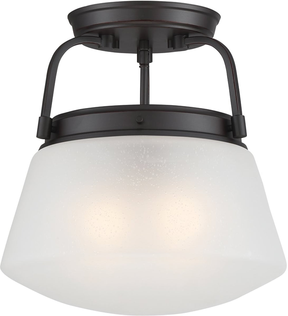 "14""W Mason 2-Light Semi Flush Mount Satin Bronze"