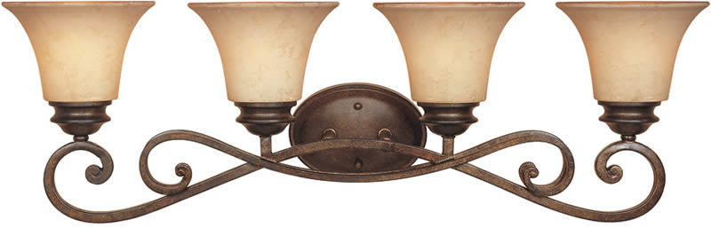 "32""w Mendocino 4-Light Bathroom Light Forged Sienna"