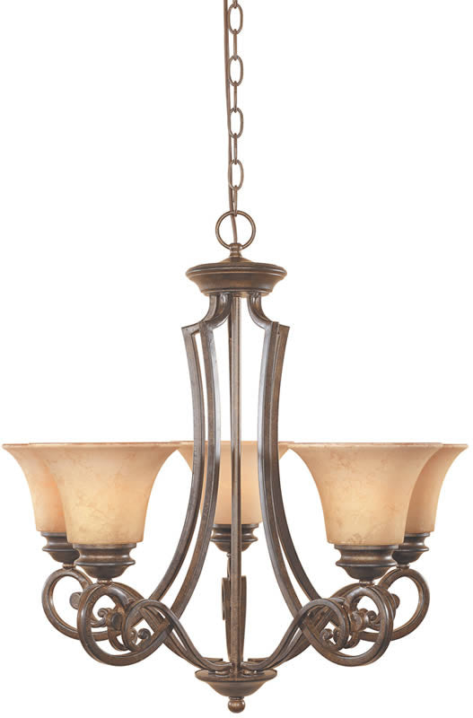 "25""w Mendocino 5-Light Chandelier Forged Sienna"