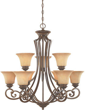 "31""W Mendocino 9-Light Chandelier Forged Sienna"