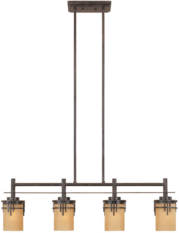 "36""W Mission Ridge 4-Light Island Pendant Warm Mahogany"