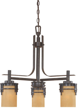 "23""W Mission Ridge 3-Light Chandelier Warm Mahogany"