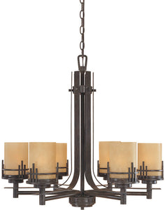 "27""W Mission Ridge 6-Light Chandelier Warm Mahogany"