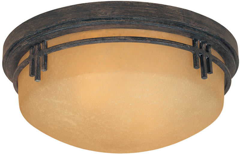 "13""W Mission Ridge 2-Light Flush Mount Warm Mahogan0"