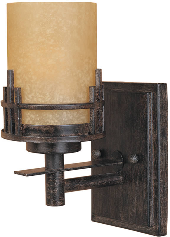 "7""w Mission Ridge 1-Light Wall Sconce Warm Mahogany"