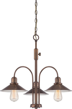 "25""W Newbury Station 3-Light Chandelier Old Satin"