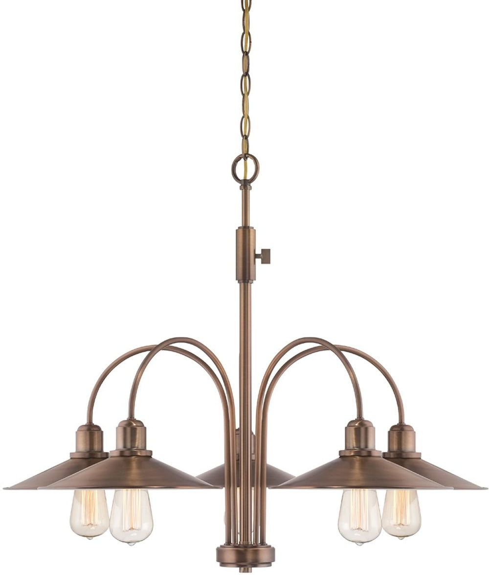 "31""W Newbury Station 5-Light Chandelier Old Satin Brass"