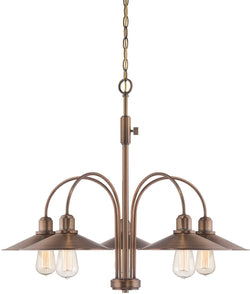 Designers Fountain Newbury Station 5-Light Chandelier Old Satin Brass 85485-OSB
