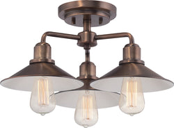 Designers Fountain Newbury Station 3-Light Semi-Flush Old Satin Brass