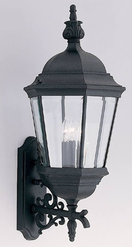 "31""H Budget Cast Aluminum 3-Light Wall Sconce Black"