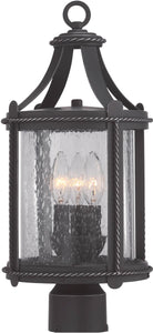 "18""w Palencia 3-Light Post Lantern Artisan Pardo Wash"