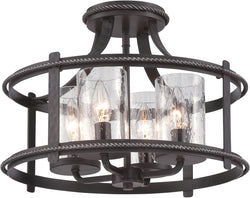 Designers Fountain 16 inchw Palencia 4-Light Semi-Flush Artisan Pardo Wash 87511APW