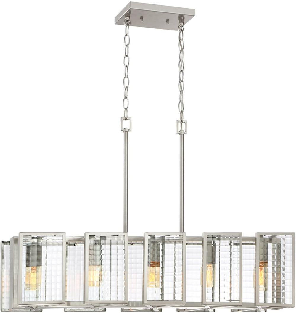 "34""W Pivot 5-Light Pendant Satin Platinum"